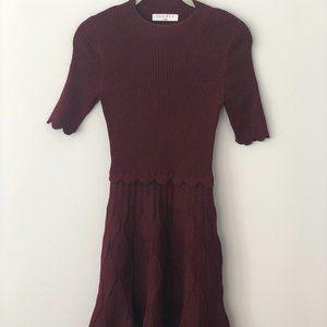 Sandro Burgundy Knit Dress
